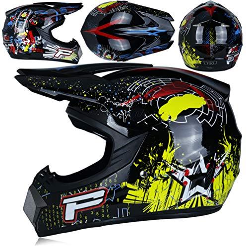 Qianliuk Top ABS Motobiker Helm Motorrad-Rennhelm Off-Road Downhill Mountain Helm geeignet für Erwachsene mit Goggle