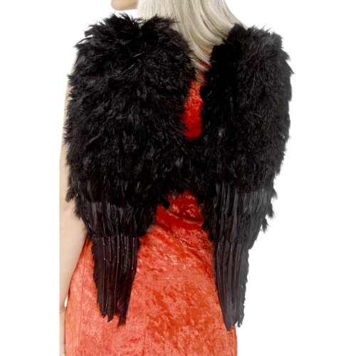 Smiffys Halloween Karneval Zubehör Engel Flügel schwarz gefedert 50x60cm