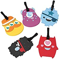 Bundle Monster 5 pc Silicone Mixed Design Travel Luggage Bag ID Tags - Set 3: Alien Abduction