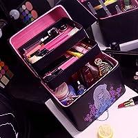 La version coréenne de make-up rétro sac à main timbres boîte cosmétique Portable étanche double haute capacité sac à cosmétiques ,châssis noir