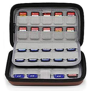 Sisma 80 Spiele Aufbewahrung Tasche Game Case für Nintendo Switch und PS Vita Spiele oder SD Karten – Braun