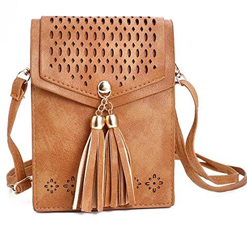 Solobay Girl téléphone portable Pochette Sac Mini Sling Pouch Filles Housse portefeuille Femme épaule Sac de hanche téléphone portable Coque pour téléphone portable - Marron - Cute-brown,