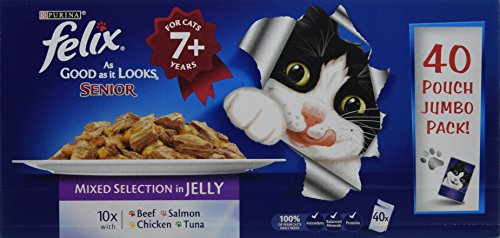 Felix As Good As It Looks Senior Cat Food Mixed 40 x 100g (40 Pouches)