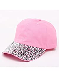 Gorra de béisbol, unisex, encantador tachuela, ajustable, sombrero de verano vaquero de tenis, rosa