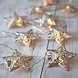 Rethinkso Luce spia 10 metallo stringhe decorazione luce luce bianca a LED per la festa di Natale di festa di Halloween (Silver 1)