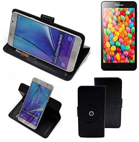 K-S-Trade® Hülle Schutzhülle Case Für -Hisense HS-U971AE- Handyhülle Flipcase Smartphone Cover Handy Schutz Tasche Bookstyle Walletcase Schwarz (1x)