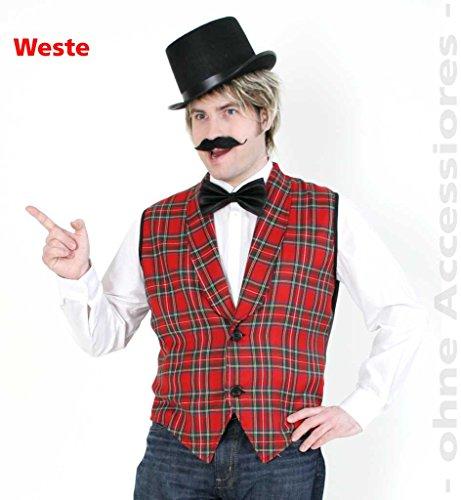 Kostüm Muster Bauern - KarnevalsTeufel Herrenkostüm Weste Arno 1-TLG. in Schottenkaro-Muster zum Knöpfen mit V-Ausschnitt formeller Stil (48/50)