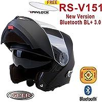 Viper RSV-151 Bluetooth + 3.0 Flip Up Motorcycle Helmet Matt Black Large ECE 22.05 & ACU Gold Approved With Free Pinlock