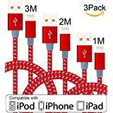 xinfaxin iPhone Cable 3Pack 1M 2M 3M Nylon Braided Lightning Cable for iPhone7/7 Plus, iPhone 6/6s,iPhone 6/6 Plus, iPhone 5/5s,Pad Mini/Air, iPod Nano/Touch and more.(Red Gray)