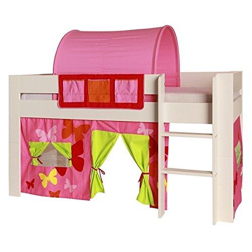 Vorhang Hochbettvorhang 2-tlg 100% Baumwolle für Hochbett Spielbett Etagenbett Stockbett Kinderbett Kinderzimmer Jona Stoff pink orange gelb