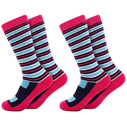 Occulto 2 Paar Kinder Skisocken | Kniestrümpfe für Jungen und Mädchen | Warme Kinder Winter Thermo Socken Größen 23-38 | Winter Sportsocken für Kinder (23-26, Rosa) -