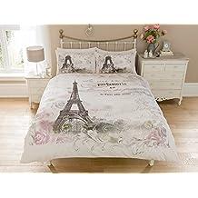 Pieridae Paris juego de cama con funda de edredón reversible para cama con diseño de flores y torre Eiffel. , 50% algodón/50% poliéster, matrimonio