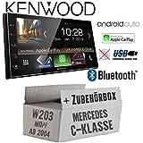Autoradio Radio Kenwood DMX7018BTS - | Bluetooth | AndroidAuto | Apple CarPlay | Zubehör - Einbauset für Mercedes C-Klasse JUST SOUND best choice for caraudio