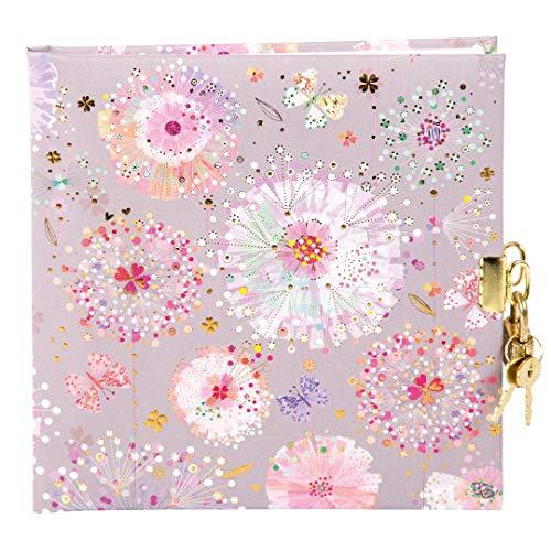 Goldbuch Tagebuch, Primavera Grey, 96 weiße Seiten, 16,5 x 16,5 cm, Schloss mit 2 Schlüsseln, Kunstdruck mit Goldprägung und Relief, Grau, 44329