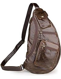 Koolertron- Sacoche bandoulière sac porte épaule en cuir multi poches assez grand pour iPad, iPhone et Samsung