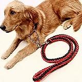 Da.Wa 130cm Hohe Qualität Haustier Hund Geflochtene Nylon Seil Durable Hundeleine Blei Heavy Duty(Schwarz+Rot)