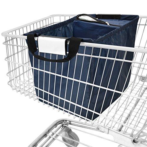 achilles Easy-Cooler, Faltbare Einkaufswagentasche mit Kühleinsatz, Einkaufstasche passend für alle gängigen Einkaufswagen, Navy, 54x35x39 cm