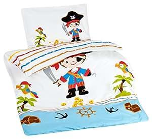 Aminata Kids Kinder-Bettwäsche 100-x-135 cm Pirat-en Piraten-Schiff Schatz Toten-Kopf-Flagge Baby-Bettwäsche 100-% Baumwolle Renforce Bunte hell-blau Junge-n Wende-Bettwäsche