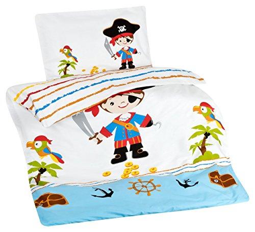 feuerwehr bettwaesche fuer erwachsene Aminata Kids Kinder-Bettwäsche 100-x-135 cm Pirat-en Piraten-Schiff Schatz Toten-Kopf-Flagge Baby-Bettwäsche 100-% Baumwolle Renforce Bunte hell-blau Junge-n Wende-Bettwäsche