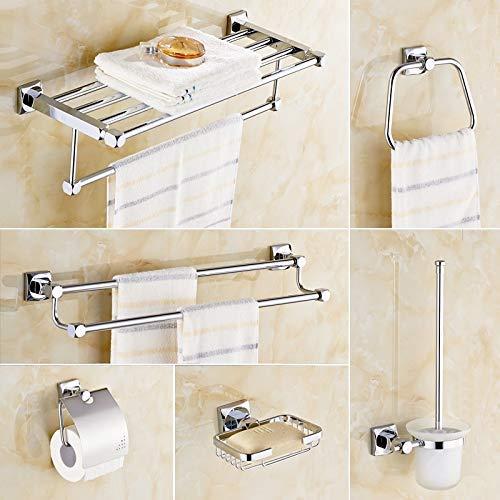 Bad-Accessoires Handtuchhalter Papierhalter Doppelzahnbürstenhalter Badetuch zurück Handtuchring Badezimmer-Sets, Einzelbecher (Color : Six-piece Set, Size : -)