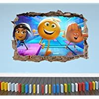 3D Emoji Breakout Wall Sticker Boys Girls Bedroom Movie Decal Poster - Extra Large Landscape 100cm (w) X 70cm (h) preiswert