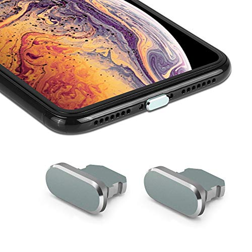 iMangoo Staubschutzstöpsel [2er Pack] Ladebuchse Stecker mit Tragetasche kompatibel mit iPhone X iPhone XS Max iPhone XR iPhone 7 8 Plus zum Schutz des Ladeanschlusses Grau -