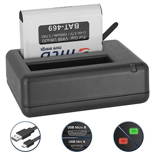 Ersatz-Akku + Dual-Ladegerät (USB) für Garmin Virb Ultra 30 Action Cam [1000 mAh | 3.7V | Li-Ion] - inkl. Micro-USB-Kabel -