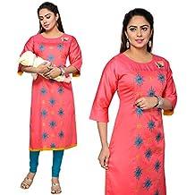 CEE 18 Women's Cotton Straight Maternity/Nursing/Easy Feeding/Breastfeeding/Kurti/Kurta/Dress/with Zippers for PRE and Post Pregnancy