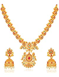Amaal Temple South Indian Red Green Matte Gold Peacock Goddess Laxmi Traditional Necklaces Jewellery Sets Jhumki Earrings for Women Girls-NL-A352