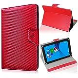 UC-Express Schutz Tablet Tasche Jay Tech CANOX Tablet PC 101 Hülle Schutzhülle Carbon Case, Farben:Rot