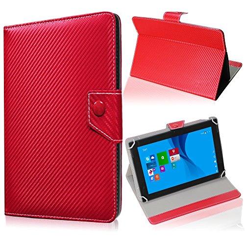 UC-Express Tablet Tasche für Blaupunkt Endeavour 101M Hülle Schutzhülle Carbon Case Cover, Farben:Rot
