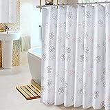 Duschvorhang blume, Badezimmer duschvorhänge Wasserdicht Mehltau Verdickung Blickdichter Polyester Messing-Ösen Extra lange duschvorhänge-Weiß W200xH220cm(79x87inch)