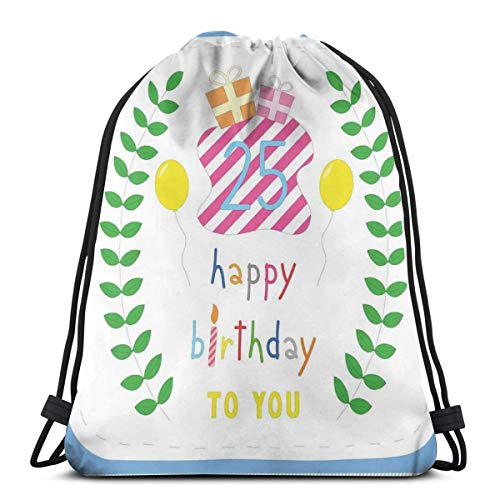 WTZYXS Drawstring Sack Backpacks Bags,Happiness Nature Themed Composition Pastel Presents Balloons,Adjustable,5 Liter Capacity,Adjustable. -