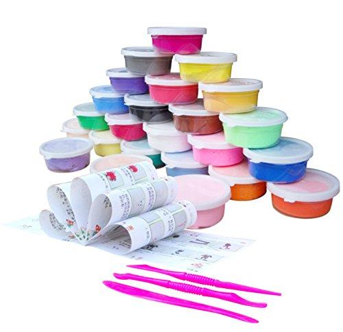 24 Farben Luft trockenen Lehm, Ultra Light Modellierung Clay, QMay Magic Clay Künstler Studio Spielzeug, ungiftig Modellierung Clay & Teig, kreative Kunst DIY Handwerk, Geschenk für Kinder (24 color A)