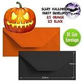 50 Halloween Einladungskarten Umschläge DL Einladungen Halloween, Orange/Schwarz