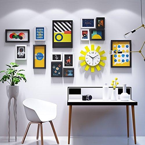 Unbekannt cornice portafoto * creativo solar orologio da parete cornice portafoto da parete minimalista parete attrezzata soggiorno decorazione foto sul muro, d, nero e bianco
