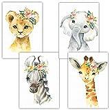 Frechdax - Juego de 4 pósteres para habitación Infantil, tamaño A4, decoración para habitación de bebé, 4er Set Blumen, Safari, A4-21x29,7cm