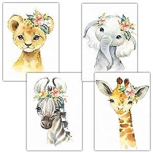 Frechdax® 4er Set Kinderzimmer Poster | A4 Bilder Babyzimmer | Deko Mädchen Junge (4er Set Blumen, Safari, A4-21×29,7cm)