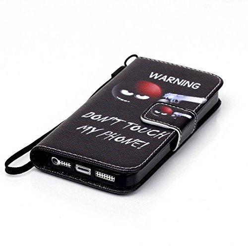 iPhone 5/5S Hülle im Bookstyle, Xf-fly® PU Leder Flip Wallet Case Cover Schutzhülle für Apple iPhone 5/5S Tasche Handytasche Schutz Etui Schale Handyhülle P-1