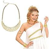 NET TOYS Cadena Dorada antigüedad Collar Diosa Gargantilla Reina Cleopatra Amuleto Romana Colgante Egipcio Accesorio Disfraz Mujer
