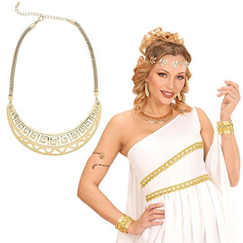 Amakando Göttin Halsschmuck Goldene Halskette Antike Römerin Collier Amulett Königin Cleopatra Schmuckkette Kostüm Accessoire Damen Hals Kette Ägypterin (Goldene Göttin Kostüm)