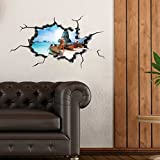 LaModaHome Dekorative Wand Aufkleber Vinyl Abnehmbare Wand Wandbild Aufkleber–(80x 45cm)/Kanu Boot Sea Beach Sky Cloud Coral Urlaub/Stilvoll Art Home Decor Gemälde–Multi Varianten in Store.