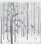 Abakuhaus Natur Duschvorhang, Menge der Vögel auf Baum, Set inkl.12 Haken aus Stoff Wasserdicht Bakterie und Schimmel Abweichent, 175 x 200 cm, Multicolor