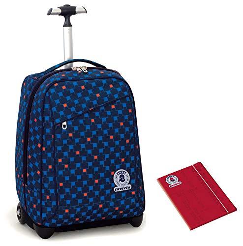 bc5f7f3024 Trolley Invicta + Cartellina A4 - Blu Rosso - Spallacci a Scomparsa! Zaino  35 LT Scuola e Viaggio