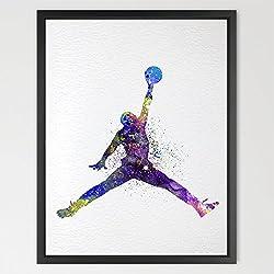 dignovel Studios jugador de baloncesto acuarela ilustración art print Wall Art Póster de decoración para el hogar para colgar de pared para cuarto de juegos cumpleaños regalo baloncesto arte n310-unframed N310-Michael Jordan Talla:A4: 21.0 x 29.7cm