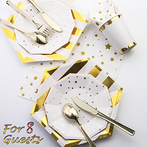 (Luxcathy 8 Guest Served Golden Hexagon Stripes und Stars Party Geschirr Set - Einweg-Teller, Tassen, Servietten, Messer, Gabeln und Löffel)