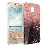 Galaxy J5 2017 Marmor Handyhülle, Asnlove Premium TPU Silikon Marble Hülle Protective Back Case TPU Silicone mit 3D Muster Handy Schutzhülle Cover für Samsung Galaxy J5 2017, Golden und Schwarz