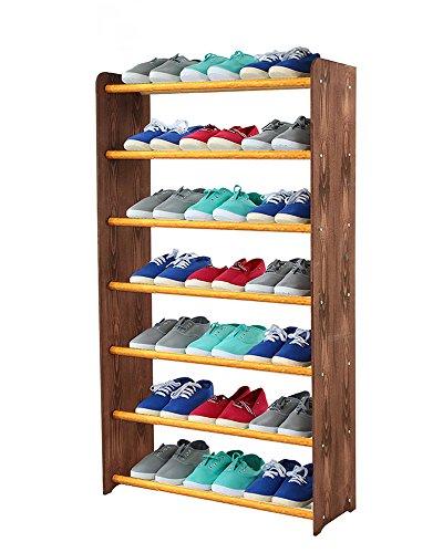 Schuhregal Schuhschrank Schuhe Schuhständer RBS-7-65 (Seiten dunkelbraun, Stangen in der Farbe erle)