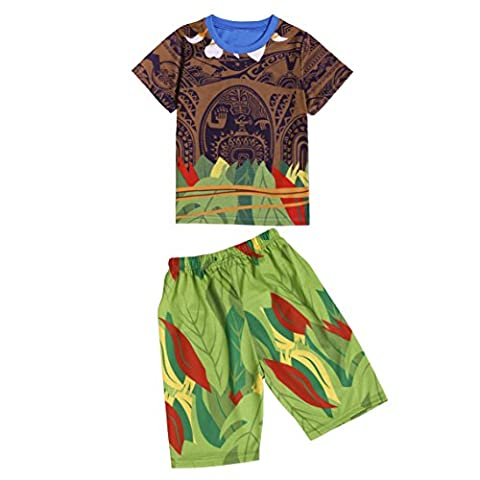 Moana Little Boys 2 Piece Shorts Sets Pjs Pajamas for Maui Clothes (2-3 Years, brown Short)