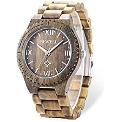 GBlife Bewell ZS - W065A Mens Wooden Watch Analog Quartz Movement with Date Display Retro Style - VERAWOOD